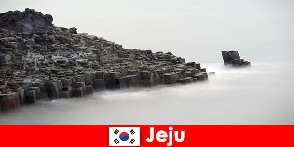 Gli stranieri stanno esplorando le famose escursioni a Jeju in Corea del Sud
